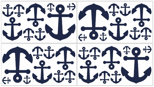 Anchors Away Nautical Baby and Kids Wall Decal Stickers - Set of 4 Sheets - Click to enlarge