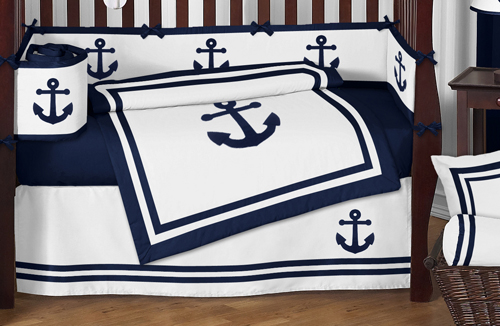 anchors away nautical baby bedding - 9pc crib setsweet jojo