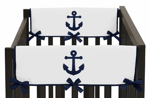 Anchors Away Nautical Baby Crib Side Rail Guard Covers by Sweet Jojo Designs - Set of 2 - Click to enlarge