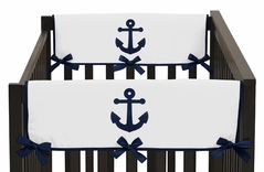 Anchors Away Nautical Baby Crib Side Rail Guard Covers by Sweet Jojo Designs - Set of 2