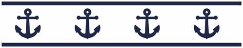 Anchors Away Nautical Childrens and Kids Modern Wall Paper Border - Click to enlarge