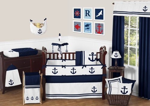 Anchors Away Nautical Baby Bedding - 9pc Crib Set by Sweet Jojo Designs - Click to enlarge