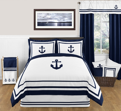 Anchors Away Nautical 3pc Full / Queen Bedding Set - Click to enlarge