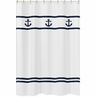 Anchors Away Nautical Kids Bathroom Fabric Bath Shower Curtain