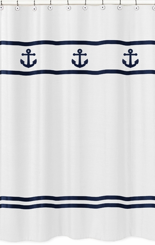 Anchors Away Nautical Kids Bathroom Fabric Bath Shower Curtain - Click to enlarge