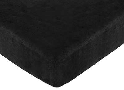 Animal Safari Fitted Crib Sheet for Baby and Toddler Bedding�Sets by Sweet Jojo Designs - Black Microsuede - Click to enlarge