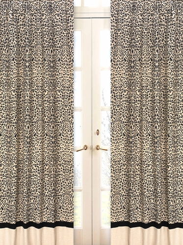 Animal safari window treatment panels set of 2 only for Animal print window treatments