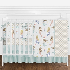 Aqua and White Watercolor Mermaid Baby Girl Crib Bedding Set with Bumper by Sweet Jojo Designs - 9 pieces