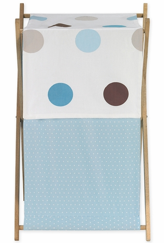 Baby and Kids Clothes Laundry Hamper for Blue and Brown Mod Dots Bedding - Click to enlarge