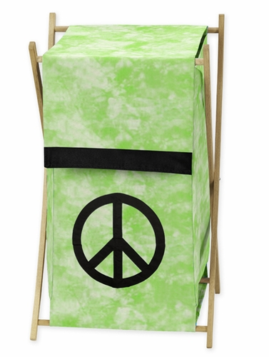 Baby and Kids Clothes Laundry Hamper for Lime Groovy Peace Sign Tie Dye Bedding - Click to enlarge