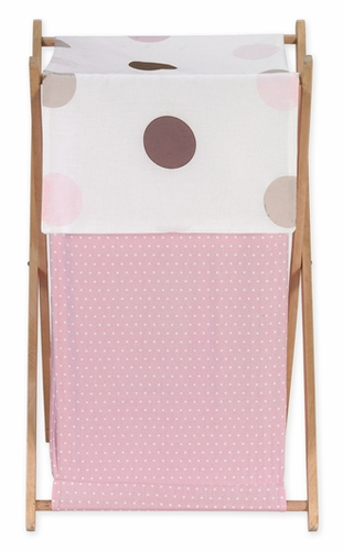 Baby and Kids Clothes Laundry Hamper for Pink and Brown Mod Dots Bedding - Click to enlarge