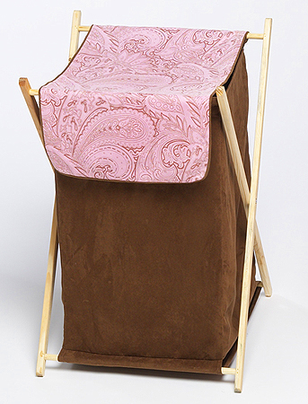 Baby and Kids Clothes Laundry Hamper for Pink and Brown Paisley Bedding - Click to enlarge