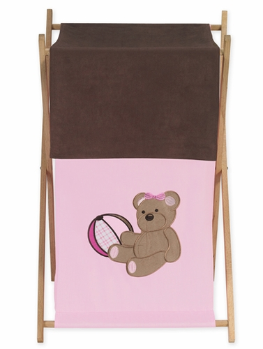 Baby and Kids Clothes Laundry Hamper for Pink and Chocolate Teddy Bear Bedding - Click to enlarge