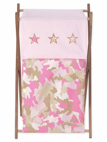 Baby and Kids Clothes Laundry Hamper for Pink and Khaki Camo Bedding - Click to enlarge