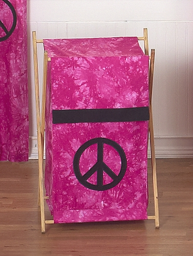 Baby and Kids Clothes Laundry Hamper for Pink Groovy Peace Sign Tie Dye Bedding - Click to enlarge