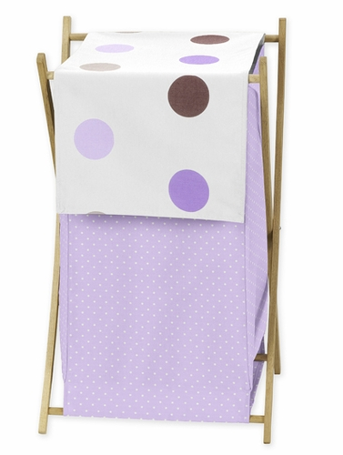 Baby and Kids Clothes Laundry Hamper for Purple and Brown Mod Dots Bedding - Click to enlarge