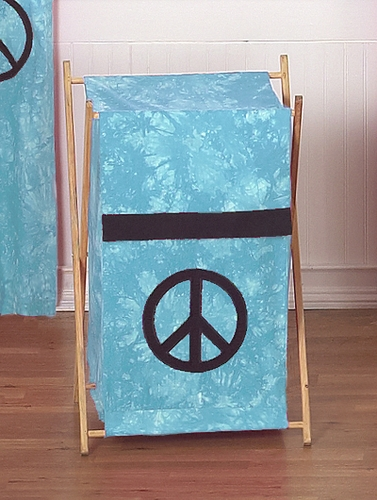 Baby and Kids Clothes Laundry Hamper for Turquoise Groovy Peace Sign Tie Dye Bedding - Click to enlarge