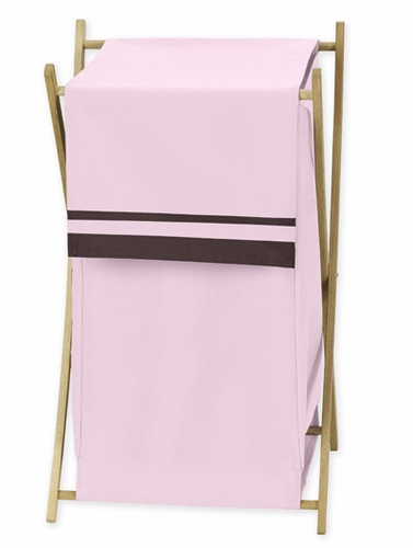 Baby and Kids Clothes Pink and Brown Hotel Laundry Hamper by Sweet Jojo Designs - Click to enlarge