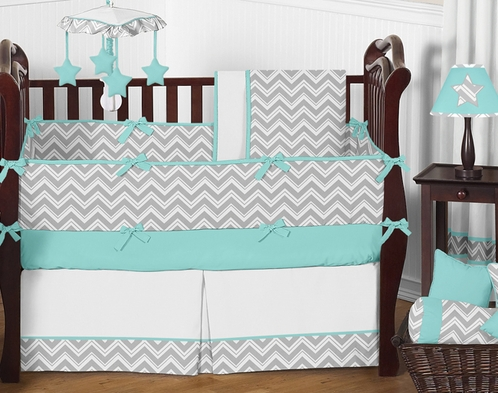 Turquoise and Gray Chevron Zig Zag Baby Bedding - 9 pc Crib Set by Sweet Jojo Designs - Click to enlarge