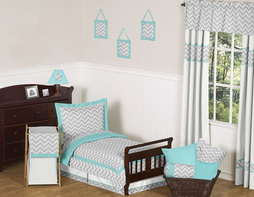 Turquoise and Gray Chevron Zig Zag Toddler Bedding - 5pc Set by Sweet Jojo Designs - Click to enlarge