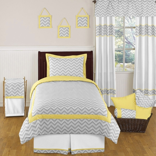 Yellow and gray chevron zig zag childrens and kids bedding for Zig zag bedroom ideas