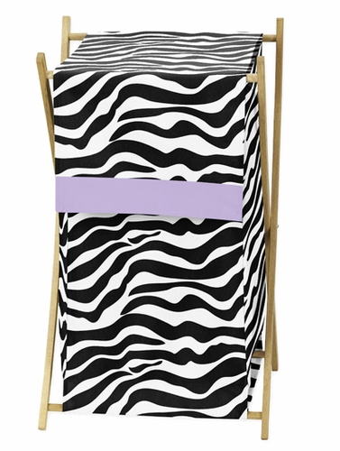 Baby and Kids Purple Funky Zebra Clothes Laundry Hamper - Click to enlarge