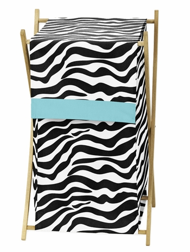 Baby and Kids Turquoise Funky Zebra Clothes Laundry Hamper - Click to enlarge