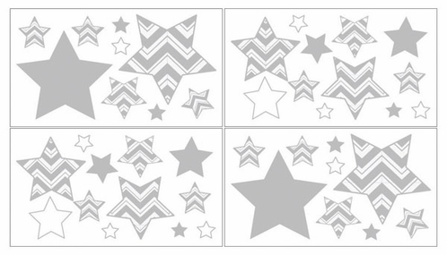 Baby and Kids Wall Decal Stickers for Yellow and Gray Chevron Zig Zag Bedding by Sweet Jojo Designs - Set of 4 Sheets - Click to enlarge