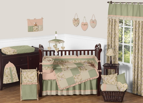 Baby Annabel Sage Antique Floral Baby Bedding - 9 pc Crib Set - Click to enlarge