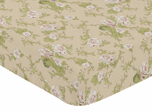 Baby Annabel Fitted Crib Sheet for Baby and Toddler Bedding Sets by Sweet Jojo Designs - Floral Print - Click to enlarge
