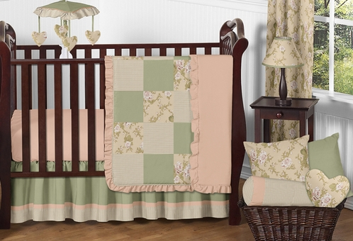 Baby Annabel Sage Antique Floral Baby Bedding - 11pc Crib Set - Click to enlarge