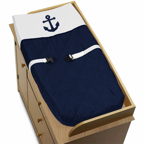 Baby Changing Pad Cover for Anchors Away Nautical Collection by Sweet Jojo Designs - Click to enlarge