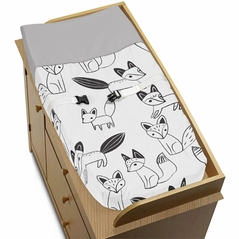 Baby Changing Pad Cover for Black and White Fox Collection by Sweet Jojo Designs