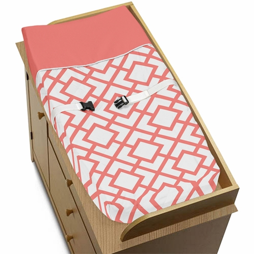 Baby Changing Pad Cover for Coral and White Diamond Collection by Sweet Jojo Designs - Click to enlarge