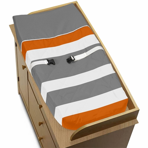 Baby Changing Pad Cover for Gray and Orange Stripe Collection by Sweet Jojo Designs - Click to enlarge