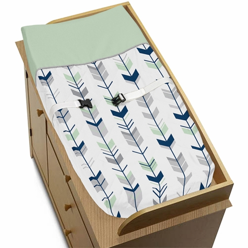 Baby Changing Pad Cover for Grey, Navy Blue and Mint Woodland Arrow Collection by Sweet Jojo Designs - Click to enlarge