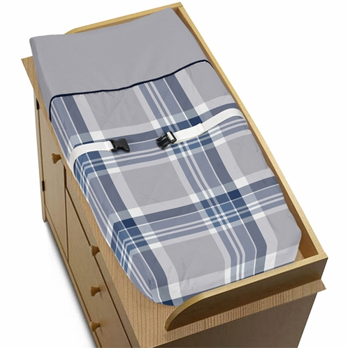 Baby Changing Pad Cover for Navy and Grey Plaid Collection by Sweet Jojo Designs - Click to enlarge