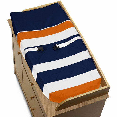 Baby Changing Pad Cover for Navy Blue and Orange Stripe Collection by Sweet Jojo Designs - Click to enlarge