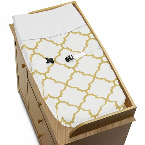 Baby Changing Pad Cover for White and Gold Trellis Collection by Sweet Jojo Designs - Click to enlarge