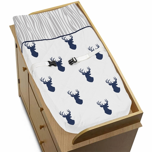 Baby Changing Pad Cover for Navy and White Woodland Deer Collection by Sweet Jojo Designs - Click to enlarge