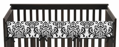 Baby Crib Long Rail Guard Cover for Black and White Isabella Collection by Sweet Jojo Designs