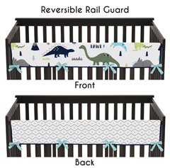 Baby Crib Long Rail Guard Cover for Blue and Green Mod Dinosaur by Sweet Jojo Designs