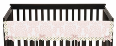 Baby Crib Long Rail Guard Cover for Blush Pink, Gold and White Amelia by Sweet Jojo Designs