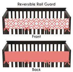 Baby Crib Long Rail Guard Cover for Coral and White Diamond Collection by Sweet Jojo Designs