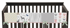 Baby Crib Long Rail Guard Cover for Coral, Mint and Grey Woodsy Collection by Sweet Jojo Designs