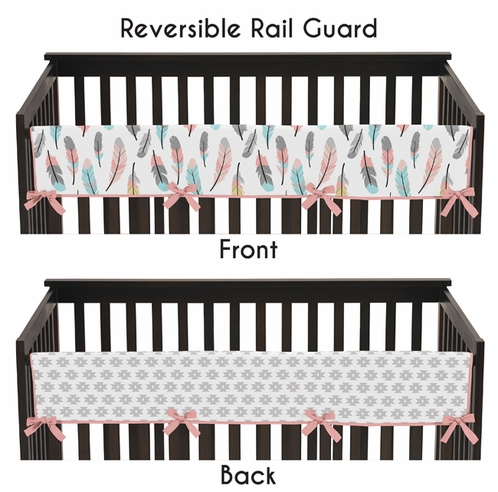 Baby Crib Long Rail Guard Cover for Feather Collection by Sweet Jojo Designs - Click to enlarge