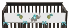 Baby Crib Long Rail Guard Cover for Mod Elephant Collection by Sweet Jojo Designs