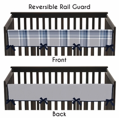 Baby Crib Long Rail Guard Cover for Navy and Grey Plaid Boys by Sweet Jojo Designs