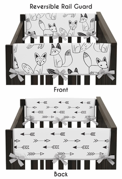 Baby Crib Side Rail Guard Covers for Black and White Fox and Arrow Collection by Sweet Jojo Designs - Set of 2
