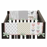 Baby Crib Side Rail Guard Covers for Coral, Mint and Grey Woodsy Collection by Sweet Jojo Designs - Set of 2